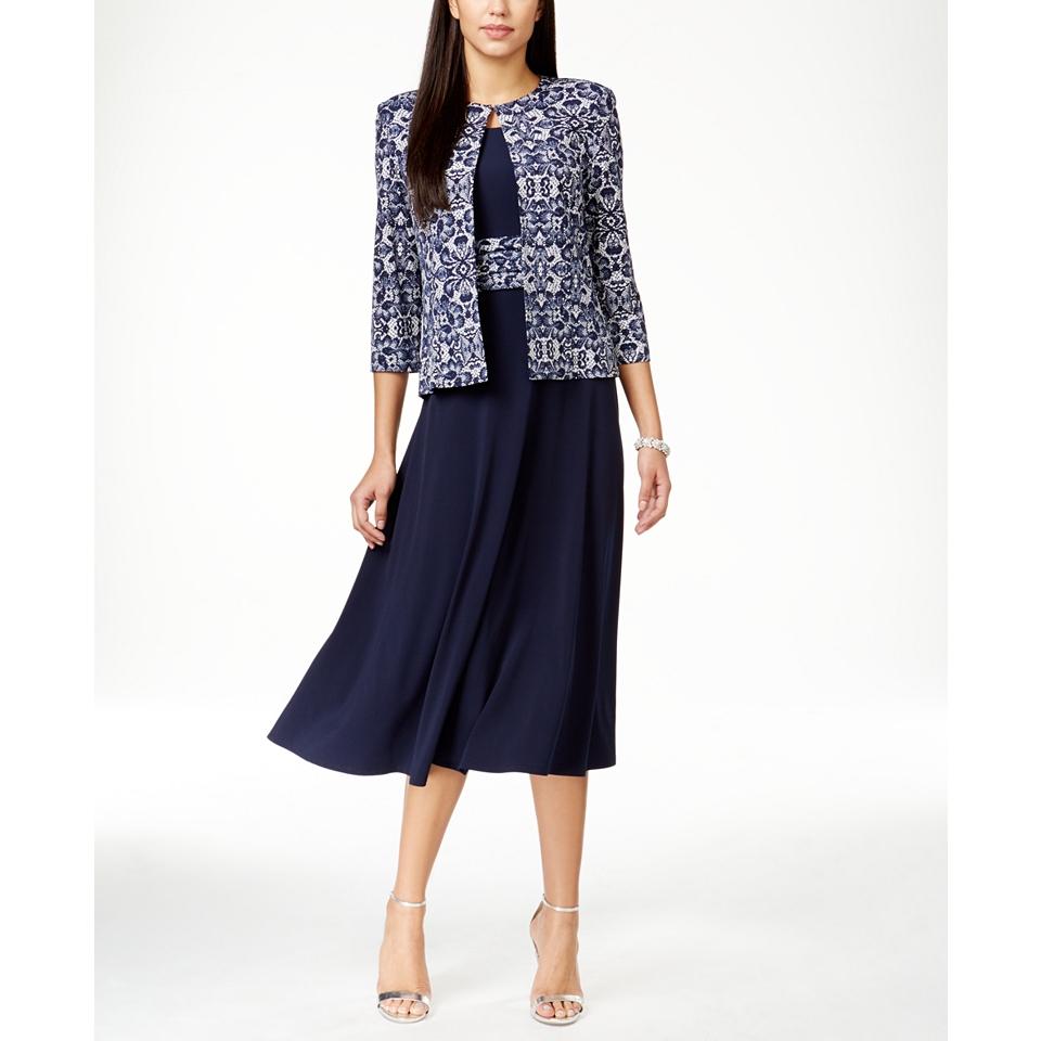Jessica Howard Petite Empire Waist Dress & Printed Jacket   Dresses