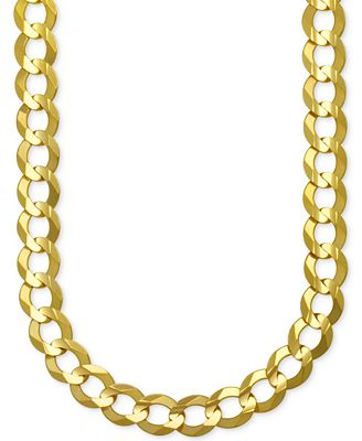 Men's Gauge Curb Chain Necklace in Solid 10k Gold