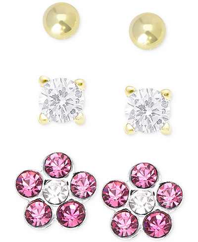 Children's Cubic Zirconia Earring Trio in 18k Gold over Sterling Silver