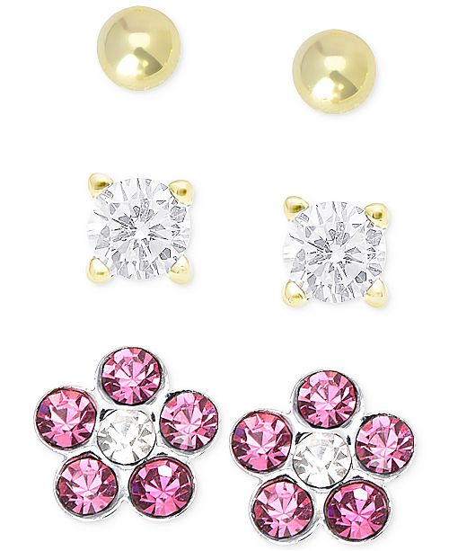 a1a31e114 Children's Cubic Zirconia Earring Trio in 18k Gold over Sterling Silver