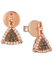 Neo Geo Le Vian Chocolatier® Chocolate and Vanilla Diamond Triangle Earrings (1/4 ct. t.w.) in 14k Rose Gold