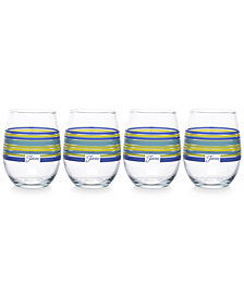 Fiesta Lapis Stripe Set of 4 Stemless Wine Glasses