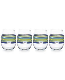Fiesta Lapis Stripe Set of 4 Stemless Wine Glasses