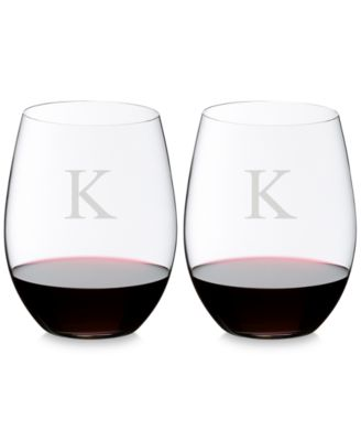 O Monogram Block Letter Cabernet/Merlot Stemless Wine Glasses, Set of 2