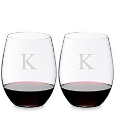 O Monogram Block Letter Cabernet/Merlot Stemless Wine Glasses, Set of 2