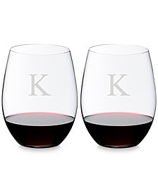 Riedel O Monogram Block Letter Cabernet/Merlot Stemless Wine Glasses, Set of 2