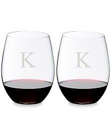 Riedel O Monogram Block Letter Cabernet/Merlot Stemless Wine Glasses, Set of 2