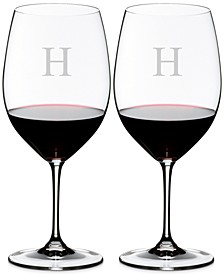 Vinum Monogram Collection 2-Pc. Block Letter Cabernet/Merlot Wine Glasses