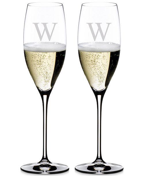 Riedel Vinum Monogram Collection 2-Pc. Block Letter Cuvee Prestige Wine Glasses