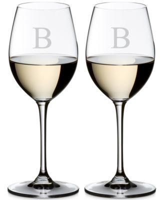 Vinum Monogram Collection 2-Pc. Block Letter Sauvignon Blanc Wine Glasses
