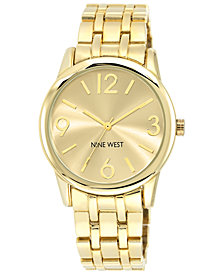 Nine West Women's Gold-Tone Adjustable Bracelet Watch 39mm NW/1578CHGB