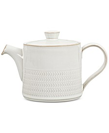 Natural Canvas  Stoneware 2-Pc. Lidded Textured Teapot