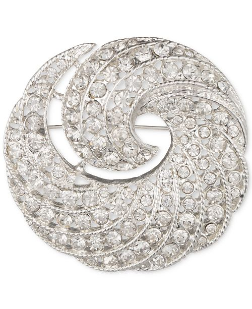 Anne Klein Silver-Tone Crystal Swirl Pin, Created for Macy's
