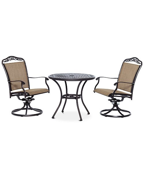 """Furniture Beachmont II Outdoor 3-Pc. Dining Set (32"""" Round Bistro Table and 2 Swivel Rockers), Created for Macy's"""