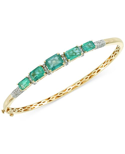 RARE Featuring GEMFIELDS Emerald (3-3/4 ct. t.w.) and Diamond (1/3 ct. t.w.) Bangle Bracelet in 14k Gold