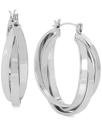 Touch of Silver Triple Hoop Earrings in Silver-Plating