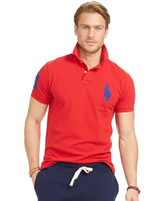 Polo Ralph Lauren Men S Custom Fit Big Pony Mesh Polo Shirt Polos