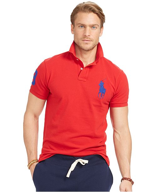198aa3c63 Polo Ralph Lauren Men's Custom-Fit Big Pony Mesh Polo Shirt ...