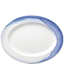 Lenox Indigo Watercolor Stripe Porcelain Oval Platter, Created for Macy's