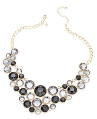 Image of INC International Concepts Gold-Tone Black Stone Bib Necklace, Created for Macy's
