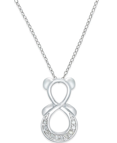 Diamond Infinity Bear Pendant Necklace (1/10 ct. t.w.) in Sterling Silver