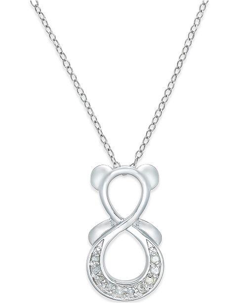 Macy's Diamond Infinity Bear Pendant Necklace (1/10 ct. t.w.) in Sterling Silver
