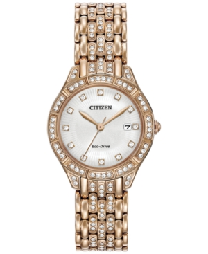Citizen Women's Eco-Drive Crystal Accent Rose Gold-Tone