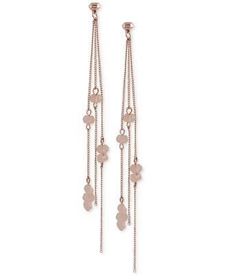 French Connection Rose Gold-Tone Beaded Linear Spike Drop Earrings