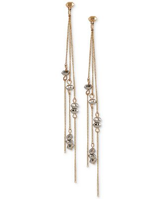 French Connection Two-Tone Beaded Linear Spike Drop Earrings