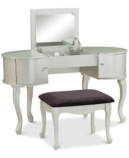 Linon Home Décor Paloma Vanity Set With Bench And Flip Up Mirror