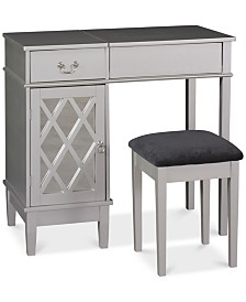 Lattice Vanity Set with Flip Up Mirror and Bench