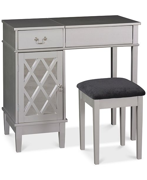 Linon Home Décor Lattice Vanity Set With Flip Up Mirror And Bench
