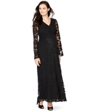 Vintage Maternity Clothes History Motherhood Maternity Lace Maxi Dress $27.97 AT vintagedancer.com