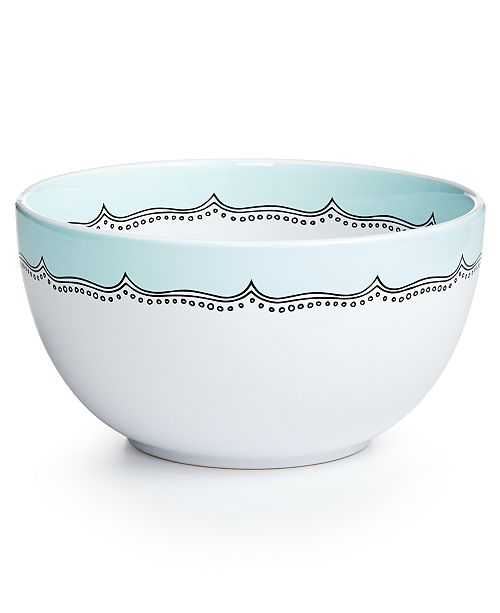 Martha Stewart Collection Mint Embroidery Ceramic Medium Mixing Bowl, Created for Macy's