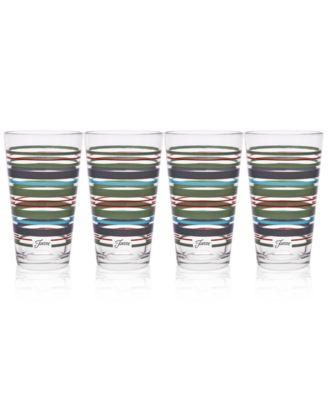 Slate & Sage Stripe Set of 4 Highball Glasses