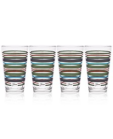 Fiesta Slate & Sage Stripe Set of 4 Highball Glasses