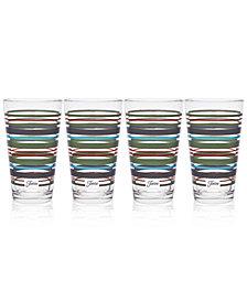 Fiesta Slate & Sage Stripe Set of 4 Highball Glasses
