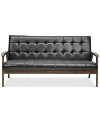 Furniture Caden Mid Century Faux Leather Sofa, Quick Ship   Furniture    Macyu0027s
