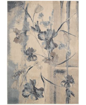 "CLOSEOUT! Somerset Ivory/Blue Art Flower 2' x 2'9"" Area Rug"