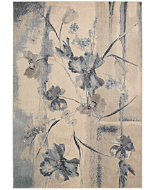 "CLOSEOUT! Nourison Somerset Ivory/Blue Art Flower 5'3"" x 7'5"" Area Rug"
