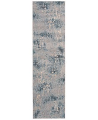 """CLOSEOUT! Somerset Silver/Blue Blossom 2' x 5'9"""" Runner Rug"""