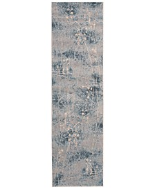 """CLOSEOUT! Somerset Silver/Blue Blossom 2'3"""" x 8' Runner Rug"""