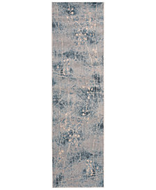 "CLOSEOUT! Nourison Somerset Silver/Blue Blossom 2'3"" x 8' Runner Rug"