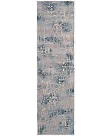 "CLOSEOUT! Nourison Somerset Silver/Blue Blossom 2'3"" x 8' Runner Rug"