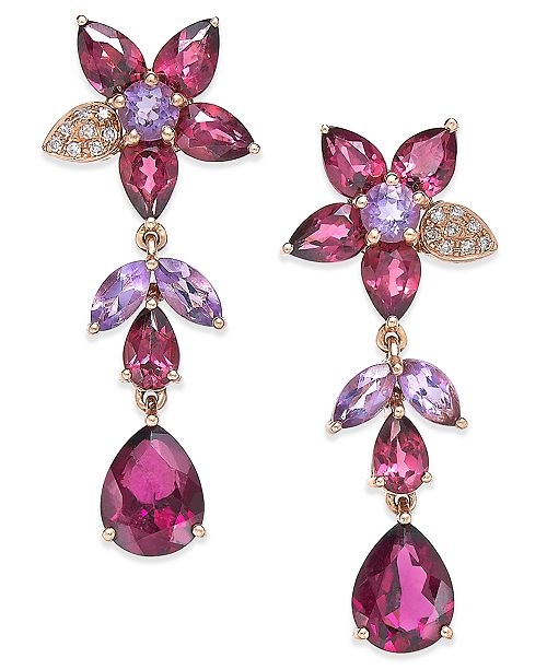 EFFY Collection Bordeaux by EFFY Multi-Stone (10-9/10 ct. t.w.) and Diamond Accent Flower Drop Earrings in 14k Rose Gold