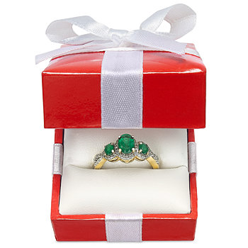 Emerald and Diamond Three-Stone Ring