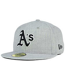 Oakland Athletics Heather Black White 59FIFTY Fitted Cap