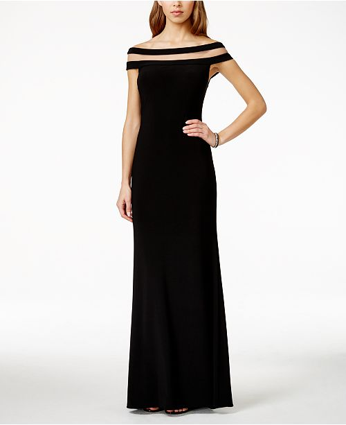 Betsy & Adam Off-The-Shoulder Illusion Gown