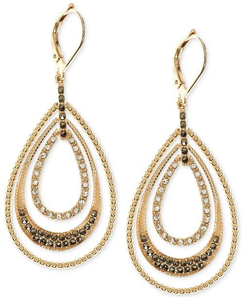 2307972e5 Judith Jack Gold-Plated Sterling Silver Crystal and Marcasite Accented  Orbital Hoop Earrings