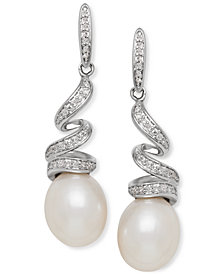 Honora Style Cultured Freshwater Pearl (8mm) & Diamond (1/8 ct. t.w.) Swirl Drop Earrings in Sterling Silver